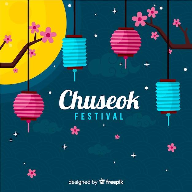 Platte gelukkig chuseok festival achtergrond Gratis Vector
