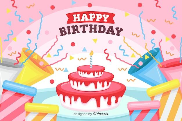 Platte gelukkige verjaardag achtergrond met cake en geschenken Gratis Vector
