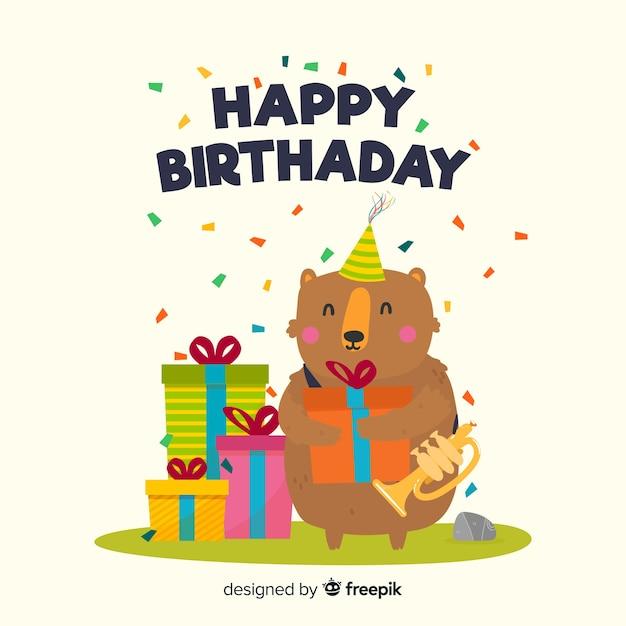 Platte gelukkige verjaardag achtergrond met een beer Gratis Vector