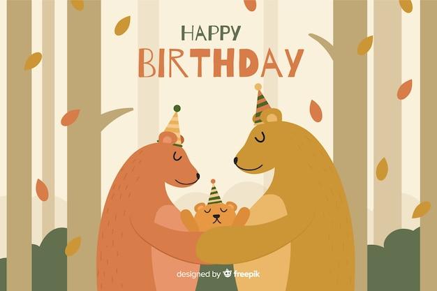 Platte gelukkige verjaardag partij achtergrond met beren Gratis Vector