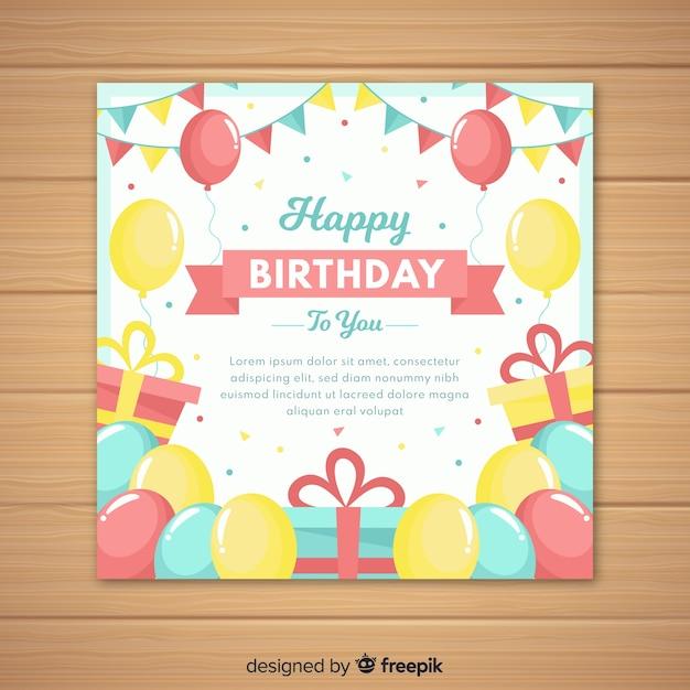 Platte gelukkige verjaardag uitnodigingskaart Gratis Vector
