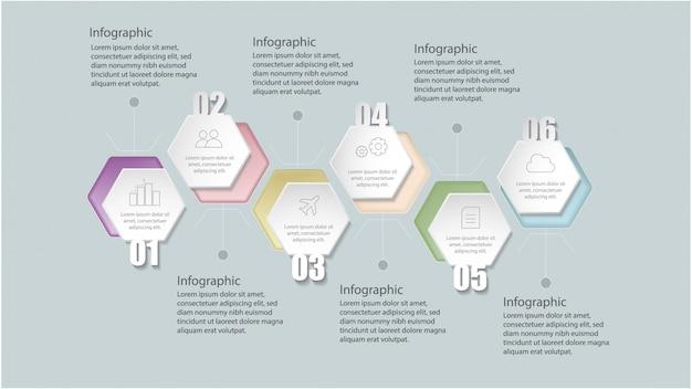 Platte geometrische infographic sjabloon met opties voor workflow-layout, diagram, nummeropties, opwaarderingsopties, Premium Vector