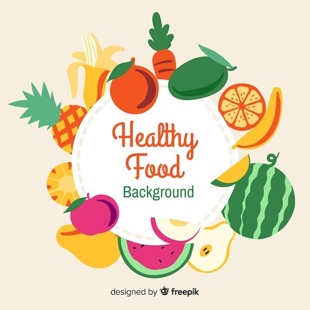 Platte gezond voedsel achtergrond Gratis Vector