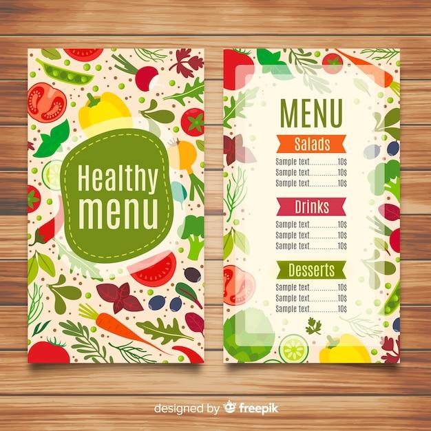Platte gezonde menusjabloon Gratis Vector