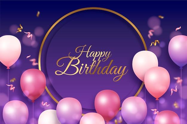 Platte gouden cirkel en ballonnen verjaardag achtergrond Gratis Vector