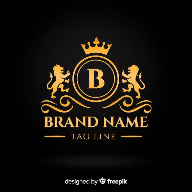 Platte gouden elegante logo sjabloon Gratis Vector
