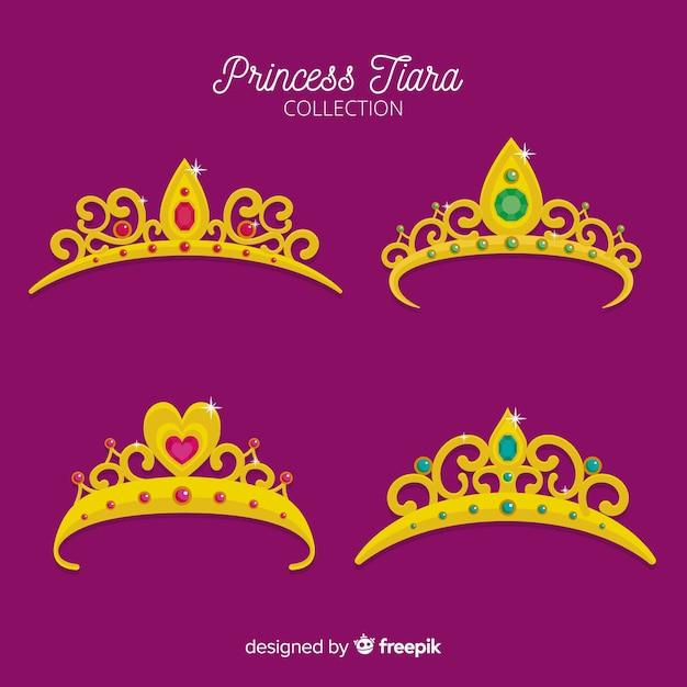 Platte gouden prinsessen tiara collectie Gratis Vector