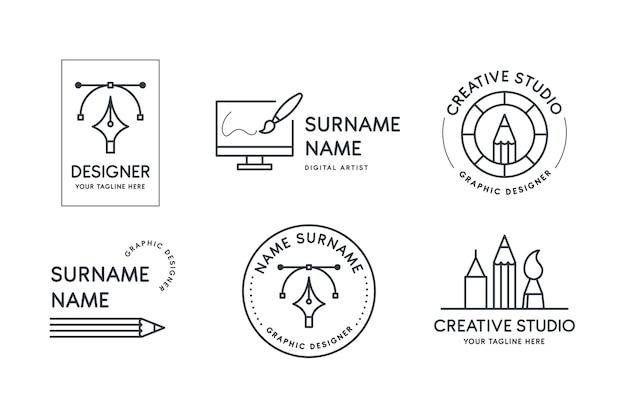 Platte grafisch ontwerper logo-collectie Gratis Vector