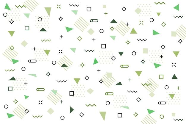 Platte groene geometrische vormen achtergrond Gratis Vector