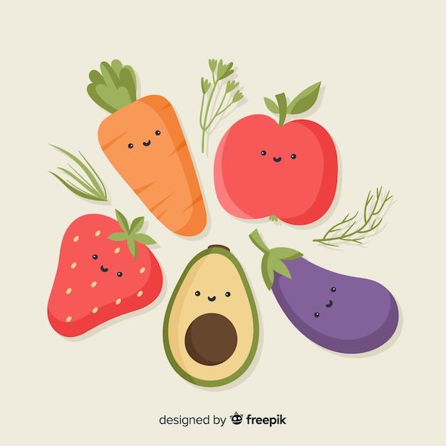 Platte groente en fruit achtergrond Gratis Vector