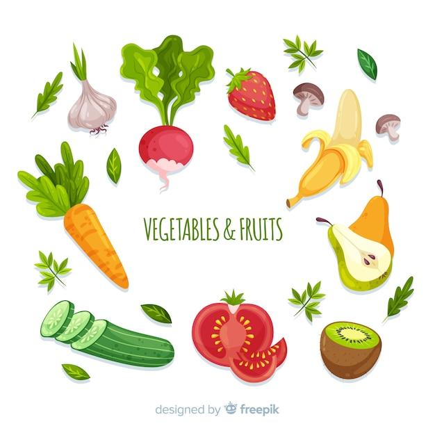 Platte groenten en fruit achtergrond Gratis Vector