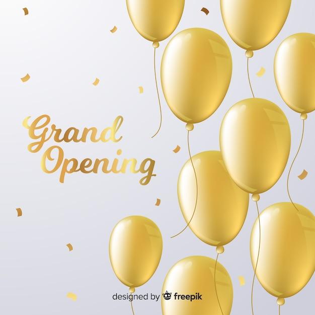 Platte grootse opening achtergrond met gouden ballonnen Gratis Vector
