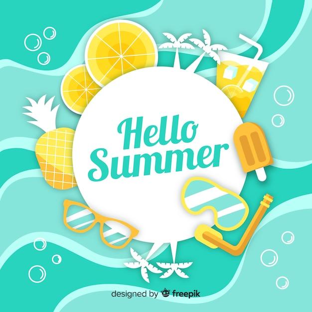 Platte hallo zomer achtergrond Gratis Vector