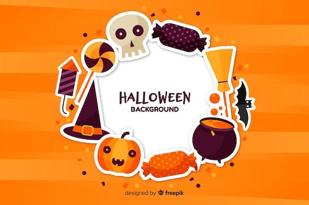 Platte halloween achtergrond met feestaccessoires Gratis Vector