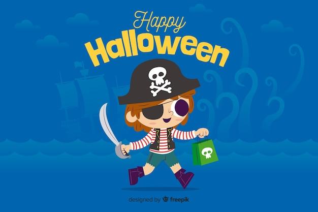 Platte halloween achtergrond met schattige kleine jongen Gratis Vector
