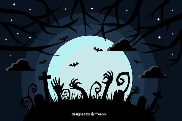 Platte halloween achtergrond met volle maan Gratis Vector