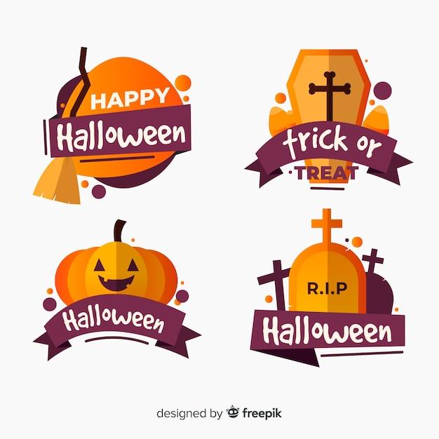 Platte halloween badge collectie Gratis Vector