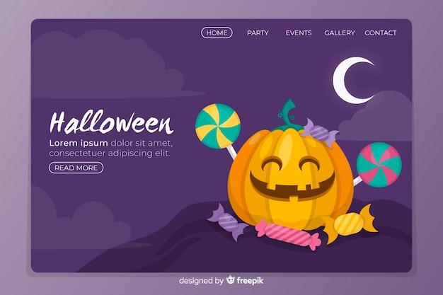 Platte halloween-bestemmingspagina met pompoen Gratis Vector