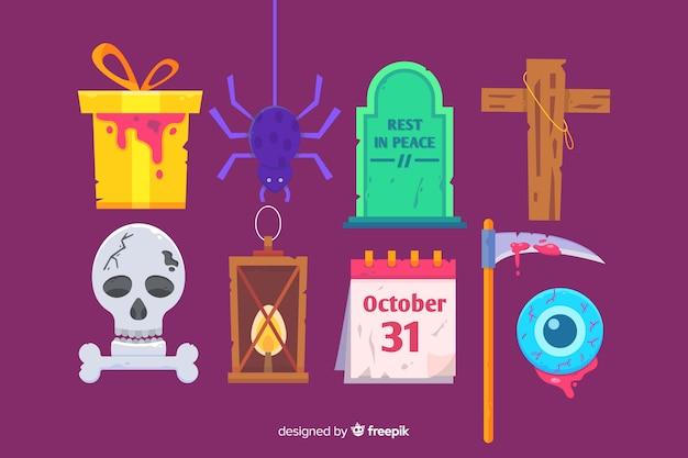 Platte halloween elementen collectie op paarse achtergrond Gratis Vector