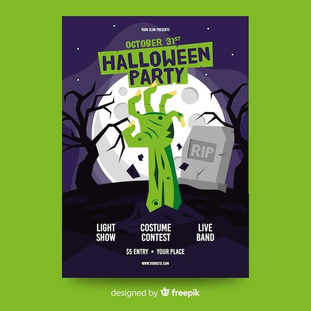 Platte halloween-feest poster sjabloon Gratis Vector