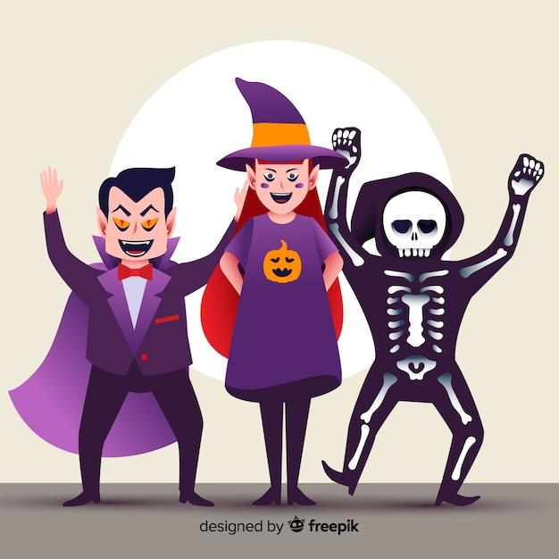 Platte halloween gelukkig karakter collectie Gratis Vector