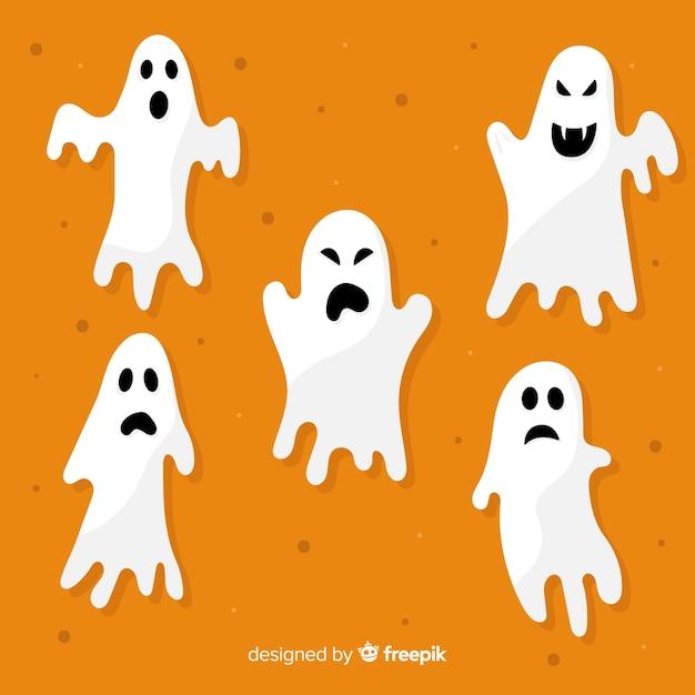 Platte halloween ghost collection op oranje achtergrond Gratis Vector