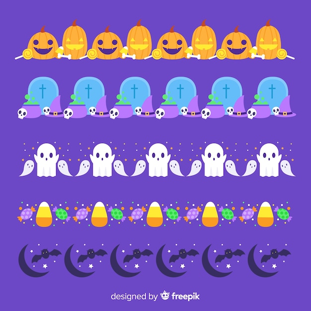 Platte halloween grens collectie op paarse achtergrond Gratis Vector