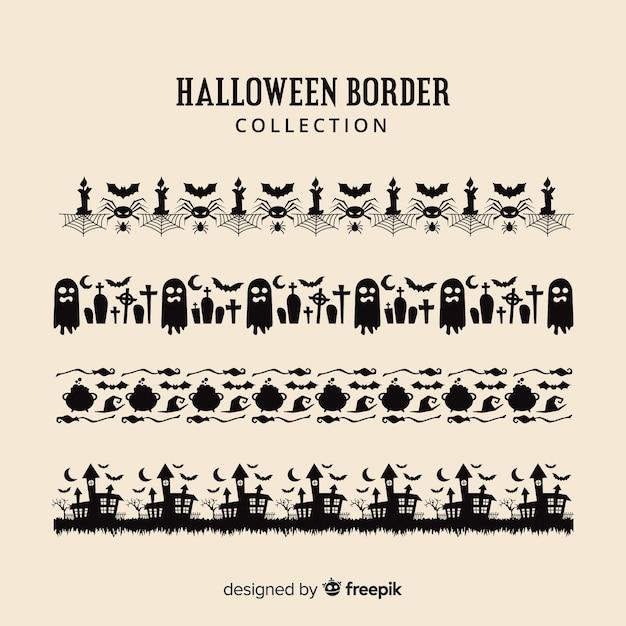 Platte halloween grens collectie Gratis Vector