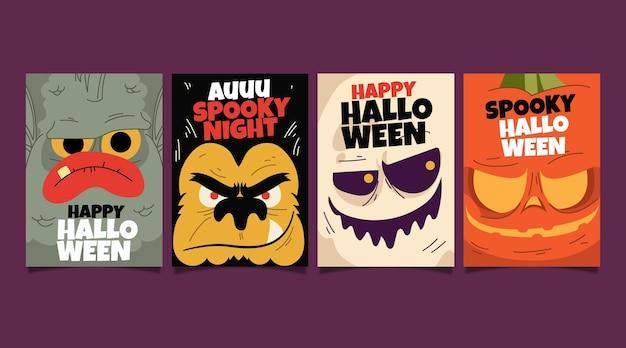 Platte halloween kaart collectie Premium Vector