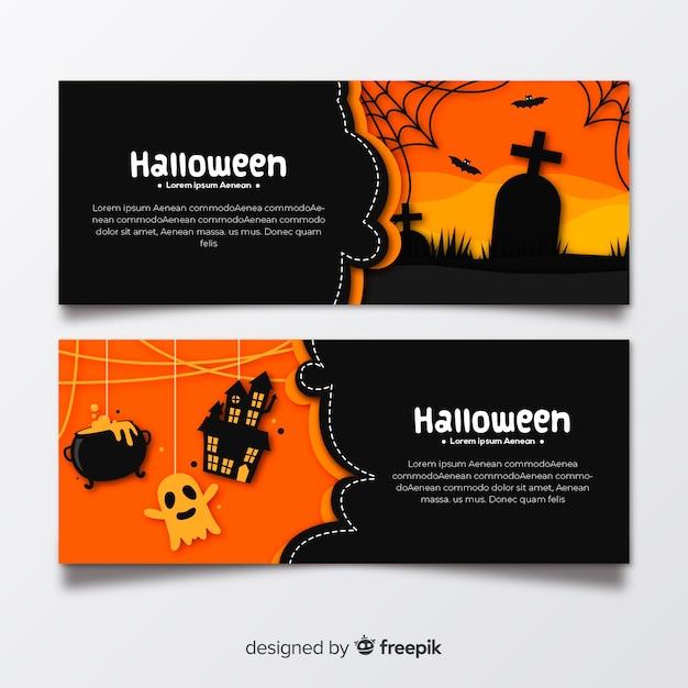 Platte halloween kerkhof banners Gratis Vector