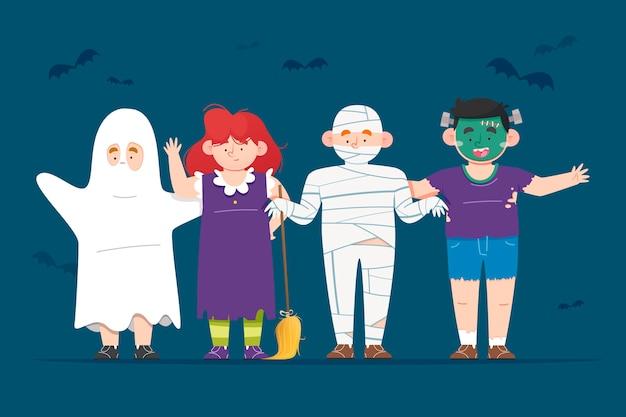 Platte halloween kid-collectie Gratis Vector