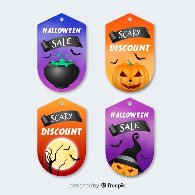 Platte halloween label en badge vintage collectie Gratis Vector