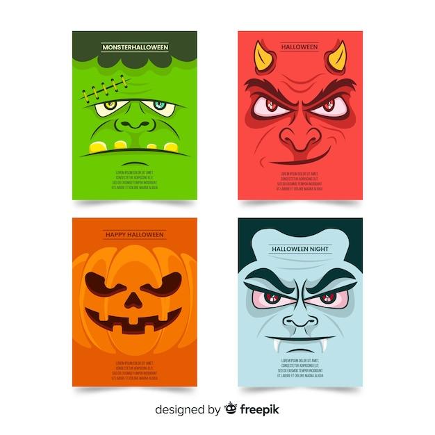 Platte halloween monsters kaart collectie Gratis Vector