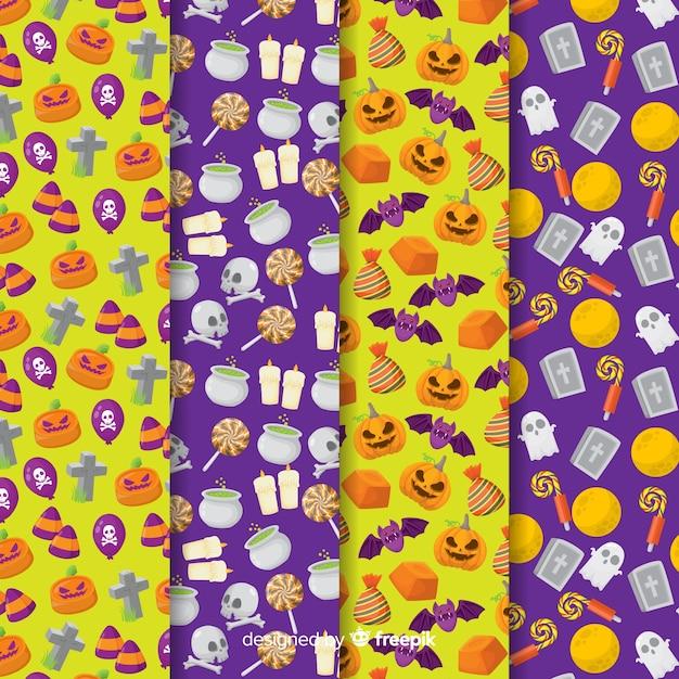 Platte halloween patroon collectie op gele en paarse achtergrond Gratis Vector