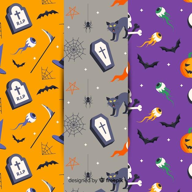 Platte halloween patroon collectie Gratis Vector