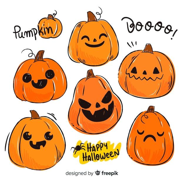Platte halloween pompoen gezichten collectie Gratis Vector