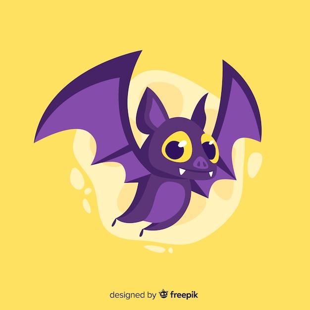 Platte halloween schattig vleermuis op gele achtergrond Gratis Vector