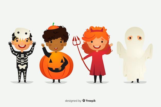 Platte halloween tekensverzameling Gratis Vector