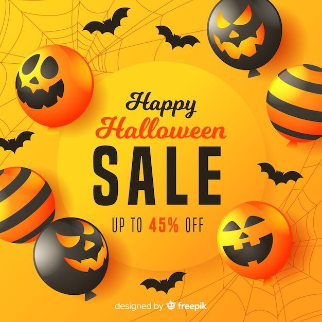 Platte halloween verkoop achtergrond Gratis Vector