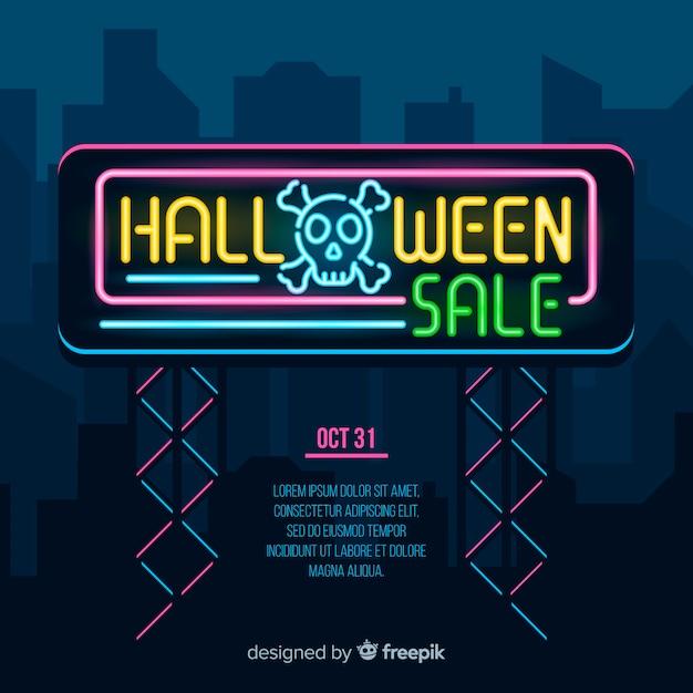 Platte halloween verkoop banner lichten Gratis Vector