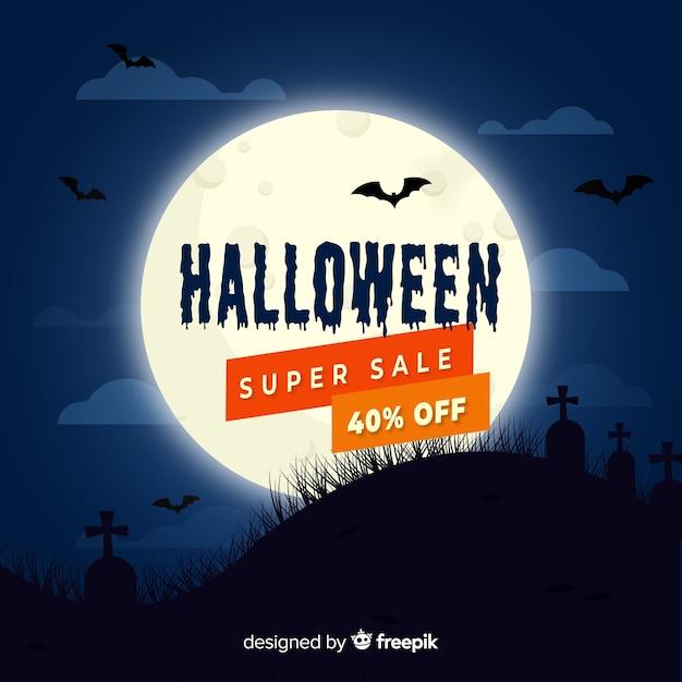Platte halloween verkoop op een volle maan nacht Gratis Vector