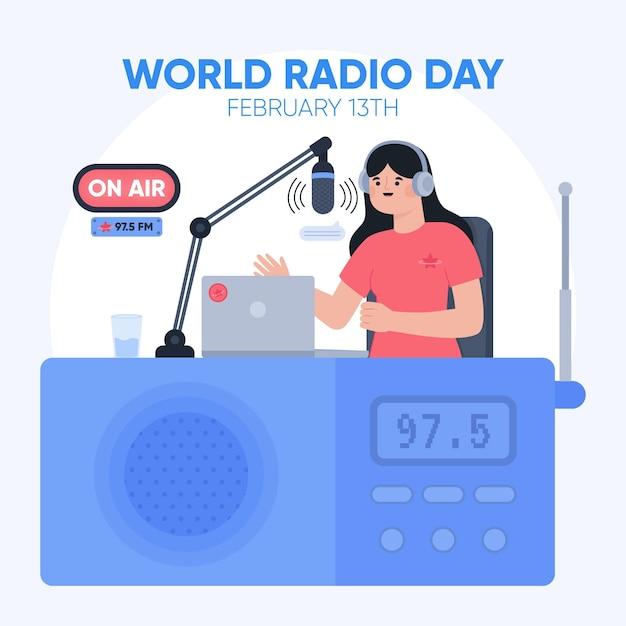 Platte hand getekend wereldradiodag met vrouw Gratis Vector