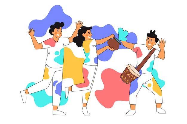 Platte hand getrokken mensen vieren holi festival Gratis Vector