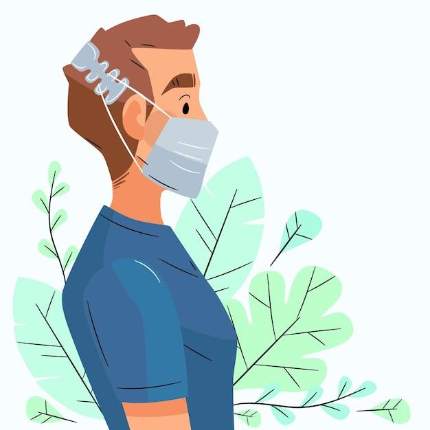 Platte handgetekende man met een verstelbare gezichtsmaskerband Gratis Vector