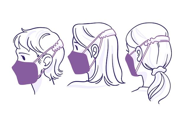 Platte handgetekende mensen met een verstelbare gezichtsmaskerband Premium Vector