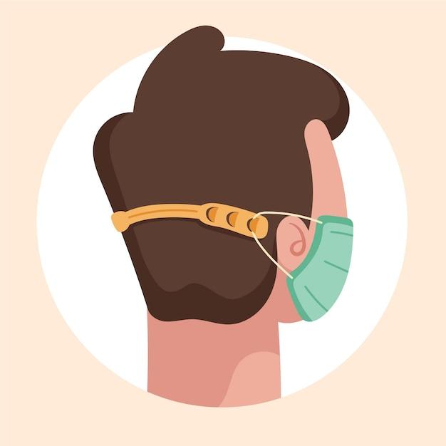 Platte handgetekende mensen met een verstelbare gezichtsmaskerband Gratis Vector