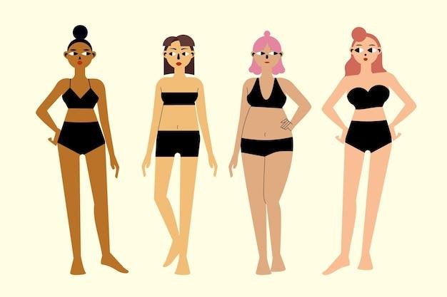 Platte handgetekende soorten vrouwelijke lichaamsvormen Gratis Vector
