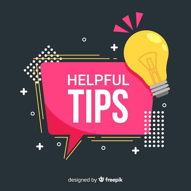 Platte handige tips achtergrond Gratis Vector