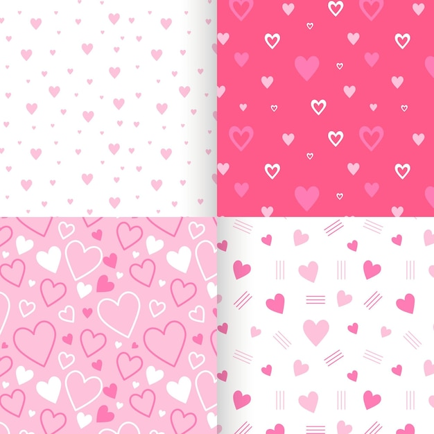 Platte hart patroon collectie Premium Vector
