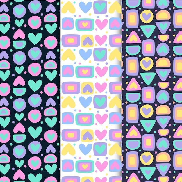 Platte hart patroon collectie Gratis Vector